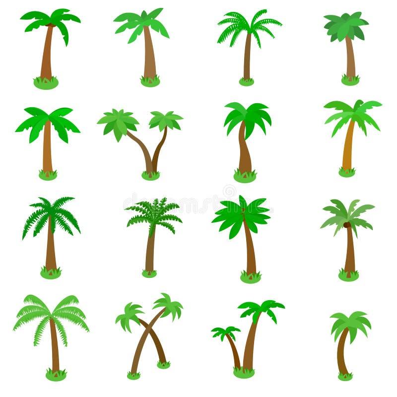 Iconos fijados, de la palmera estilo isométrico 3d ilustración del vector