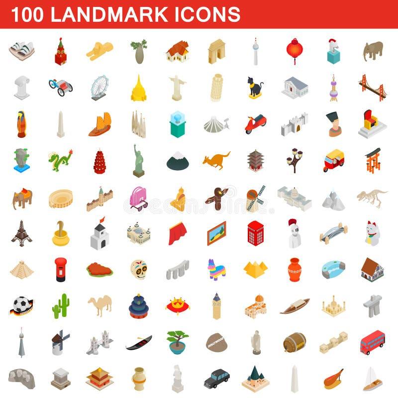 100 iconos fijados, de la señal estilo isométrico 3d stock de ilustración