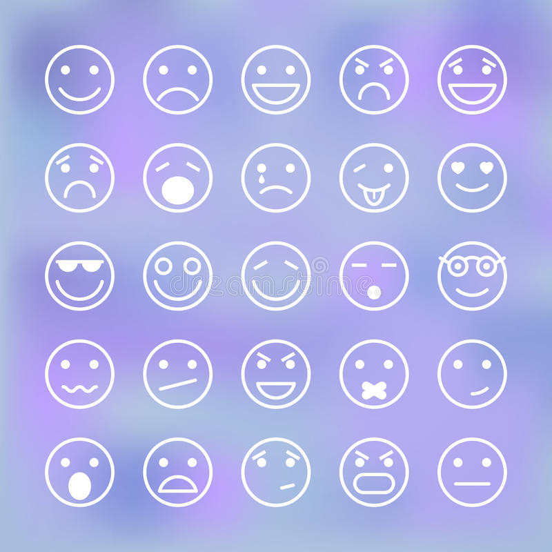 Iconos fijados de las caras sonrientes para la aplicación móvil stock de ilustración