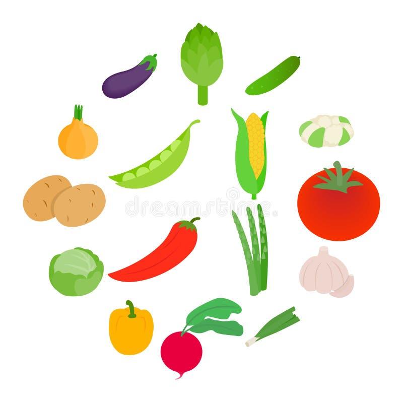 Iconos fijados, de las verduras estilo isométrico 3d fotografía de archivo