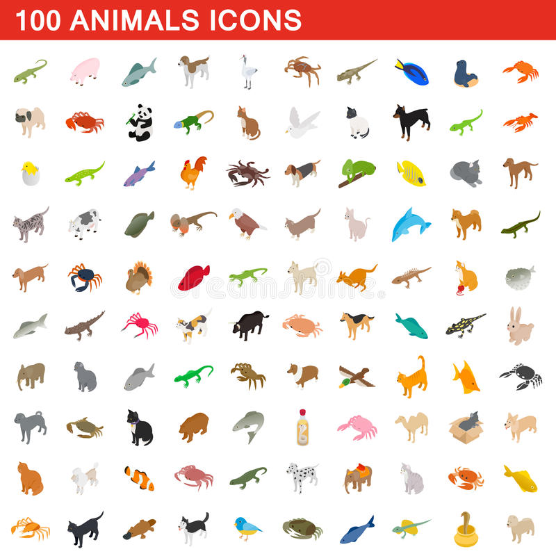 100 iconos fijados, de los animales estilo isométrico 3d stock de ilustración