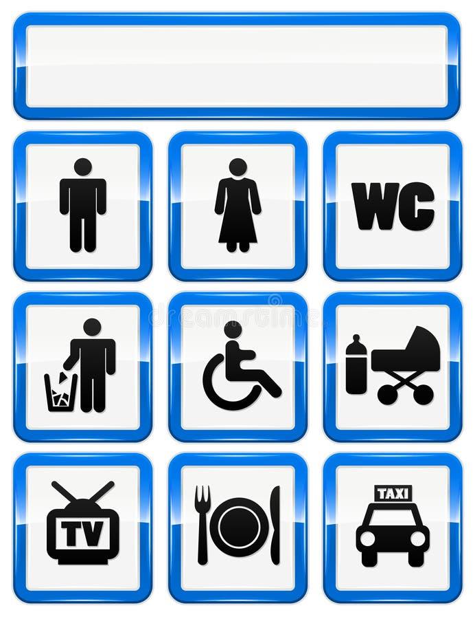 Iconos fijados de muestras del servicio ilustración del vector