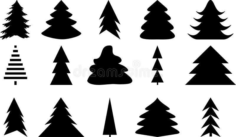 Iconos fijados de negro del árbol de navidad en blanco stock de ilustración