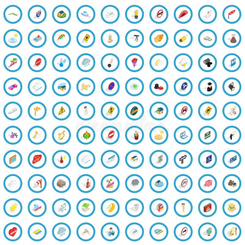 100 iconos fijados, del carácter estilo isométrico 3d ilustración del vector