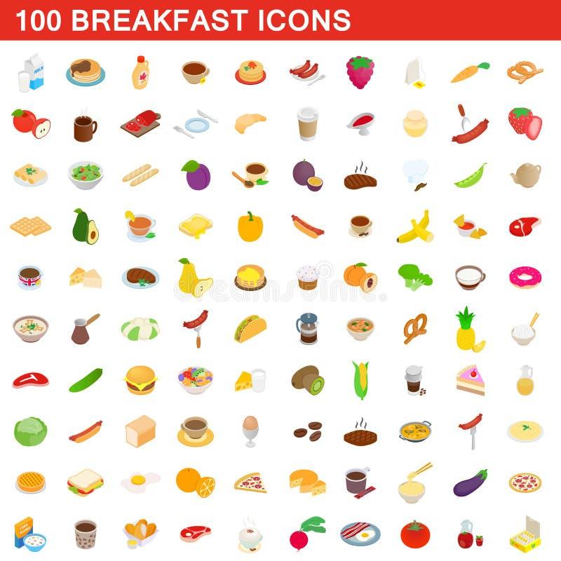 100 iconos fijados, del desayuno estilo isométrico 3d ilustración del vector