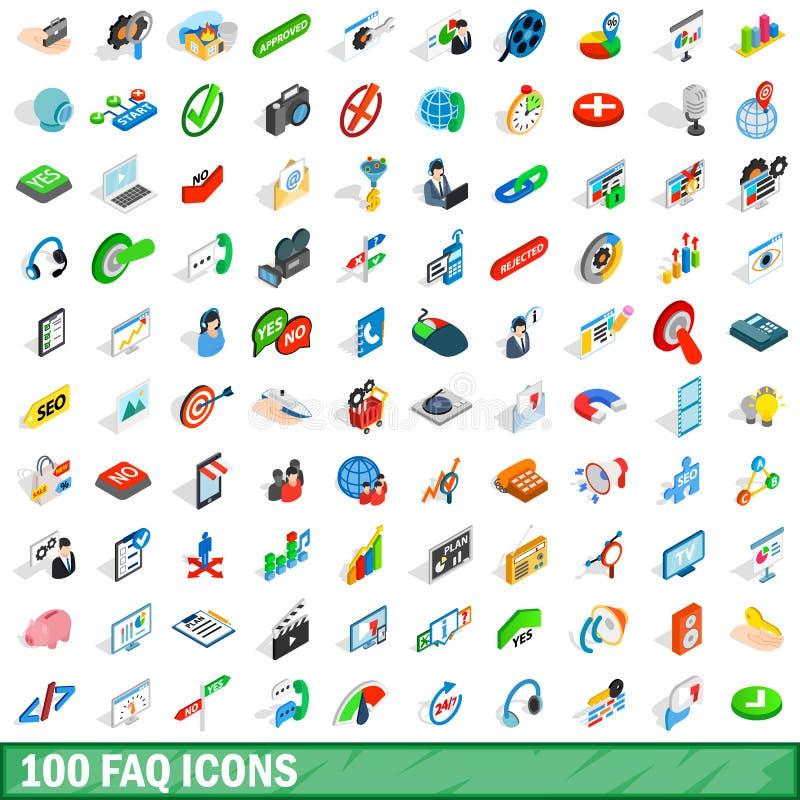 100 iconos fijados, del FAQ estilo isométrico 3d libre illustration