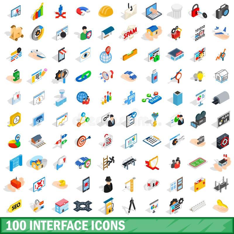 100 iconos fijados, del interfaz estilo isométrico 3d stock de ilustración