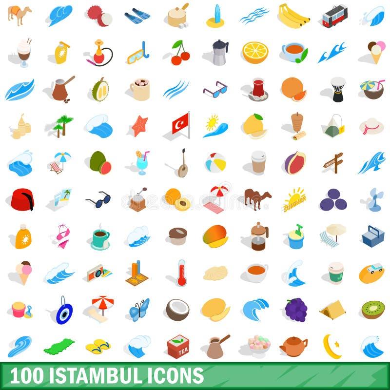 100 iconos fijados, del istambul estilo isométrico 3d stock de ilustración
