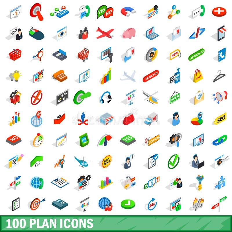 100 iconos fijados, del plan estilo isométrico 3d ilustración del vector