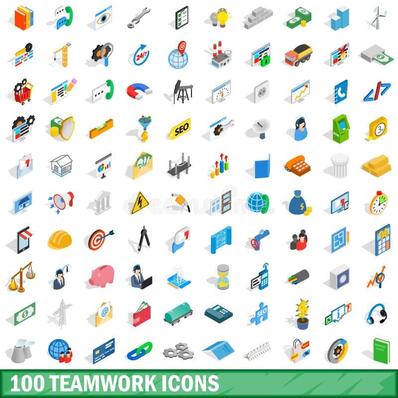 100 iconos fijados, del trabajo en equipo estilo isométrico 3d ilustración del vector