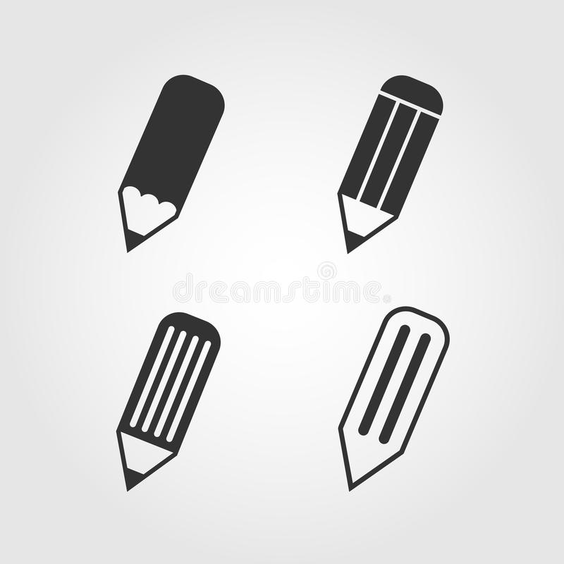 Iconos fijados, diseño plano del lápiz stock de ilustración