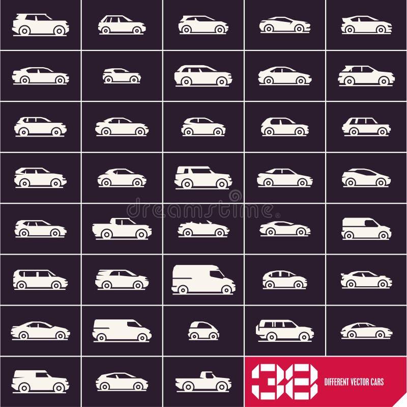 Iconos fijados, diversos tipos de los coches del coche libre illustration