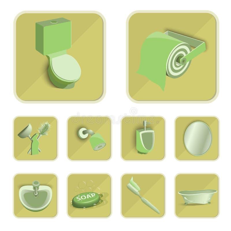 Iconos fijados, ejemplo EPS 10 del retrete fotos de archivo libres de regalías