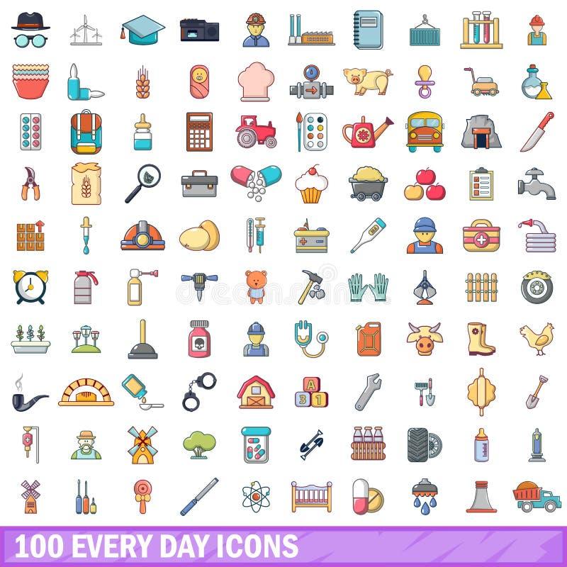 100 iconos fijados, estilo de cada día de la historieta stock de ilustración