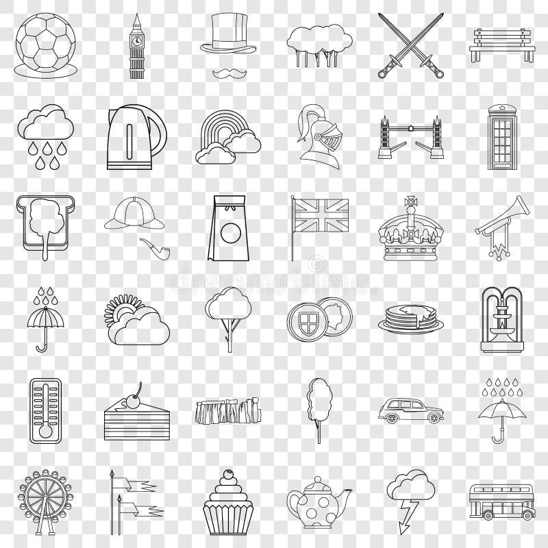 Iconos fijados, estilo de Inglaterra del esquema ilustración del vector