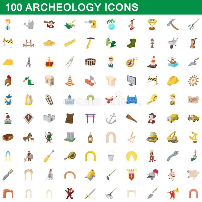 100 iconos fijados, estilo de la arqueología de la historieta libre illustration