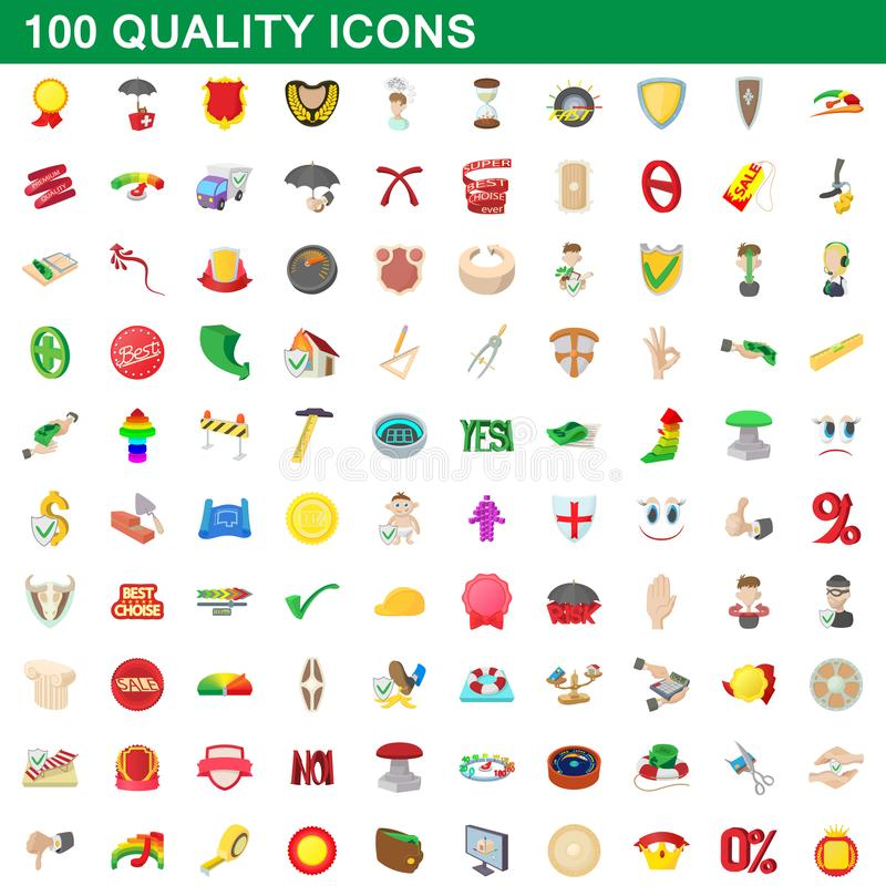 100 iconos fijados, estilo de la calidad de la historieta stock de ilustración