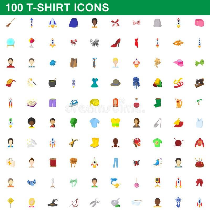 100 iconos fijados, estilo de la camiseta de la historieta stock de ilustración