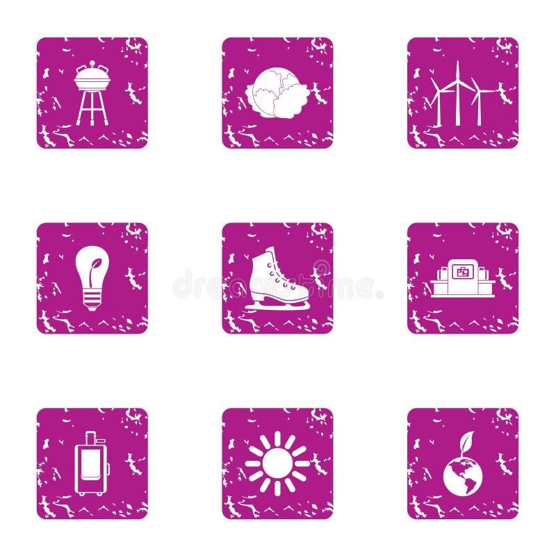Iconos fijados, estilo de la cohesión del grunge libre illustration