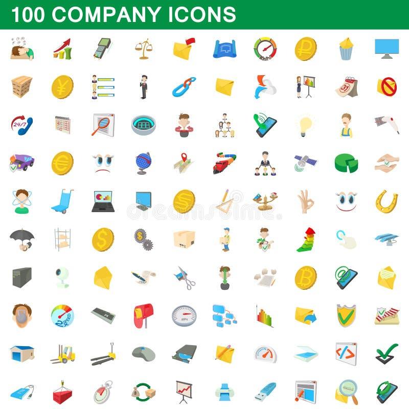 100 iconos fijados, estilo de la compañía de la historieta ilustración del vector