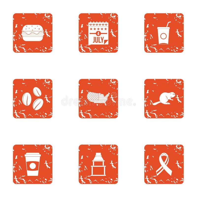 Iconos fijados, estilo de la dosis de la comida del grunge stock de ilustración