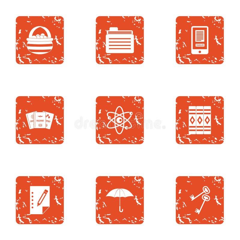 Iconos fijados, estilo de la espina dorsal del libro del grunge ilustración del vector