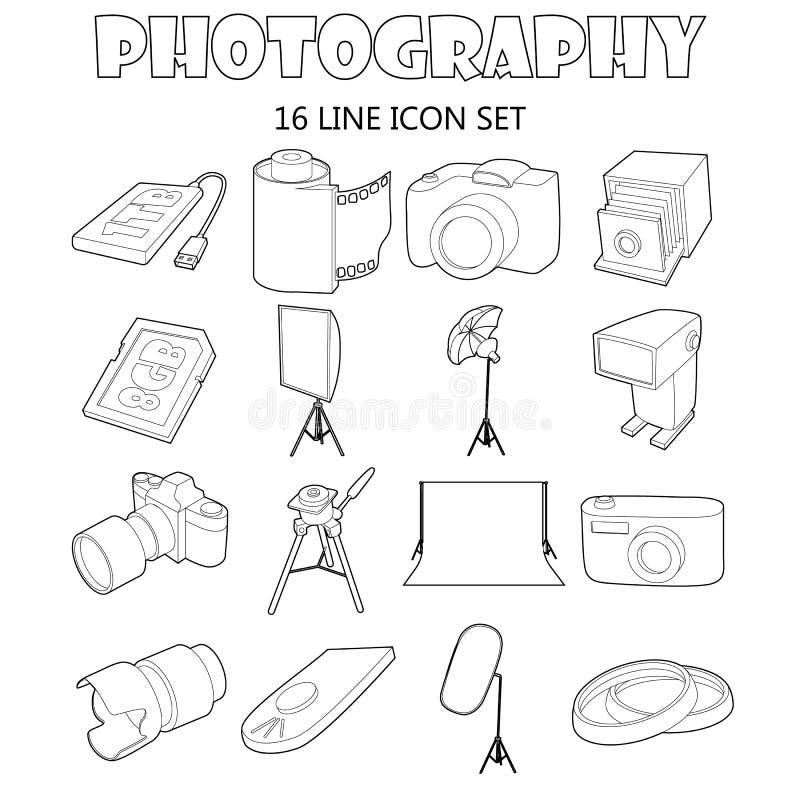 Iconos fijados, estilo de la fotografía del esquema stock de ilustración