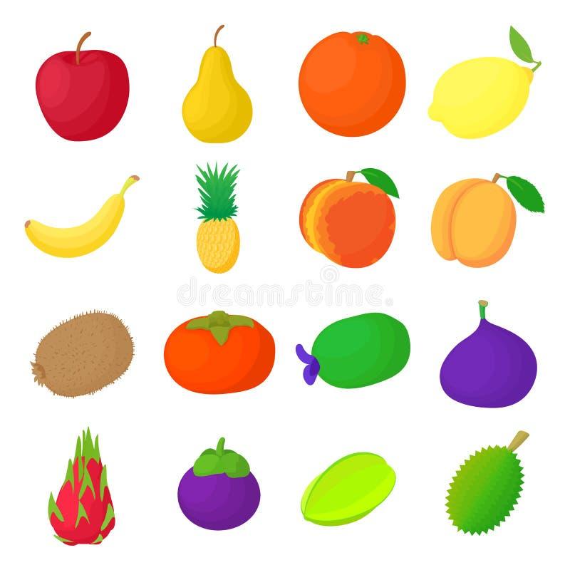 Iconos fijados, estilo de la fruta de la historieta stock de ilustración
