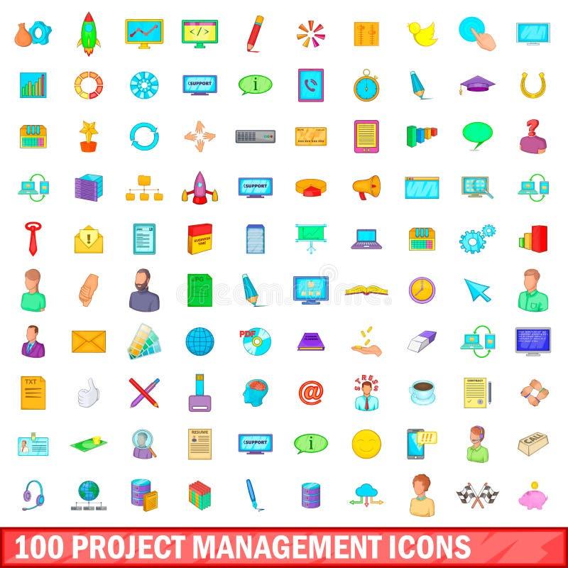 100 iconos fijados, estilo de la gestión del proyecto de la historieta stock de ilustración