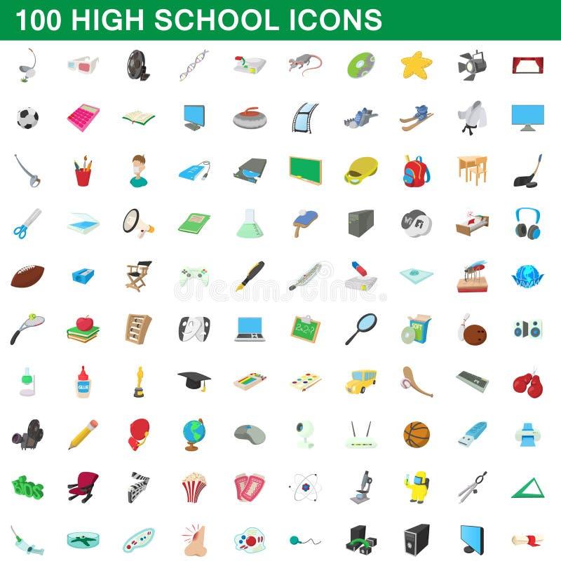 100 iconos fijados, estilo de la High School secundaria de la historieta ilustración del vector