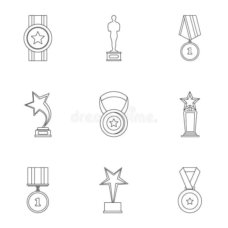 Iconos fijados, estilo de la indemnización del esquema stock de ilustración