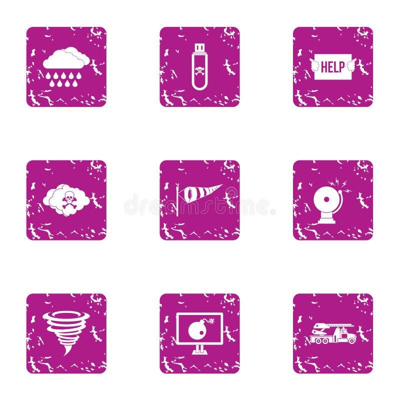 Iconos fijados, estilo de la manera de la ayuda del grunge libre illustration
