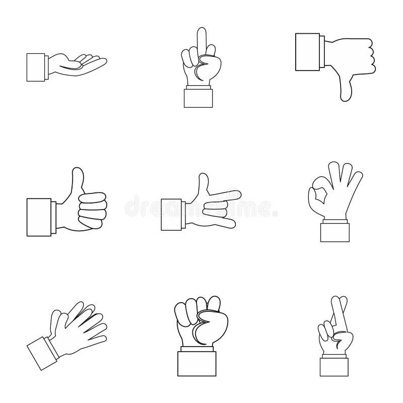 Iconos fijados, estilo de la mano del esquema ilustración del vector