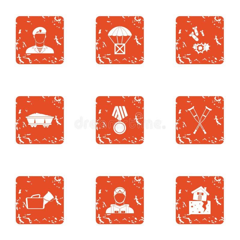 Iconos fijados, estilo de la pelea del grunge ilustración del vector