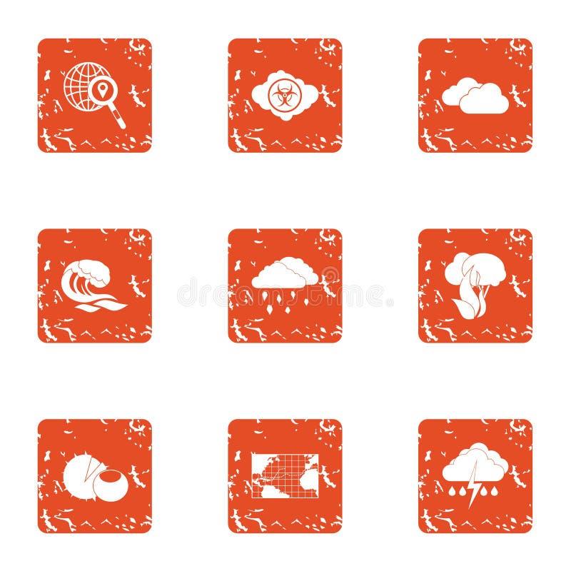 Iconos fijados, estilo de la precipitación del grunge libre illustration