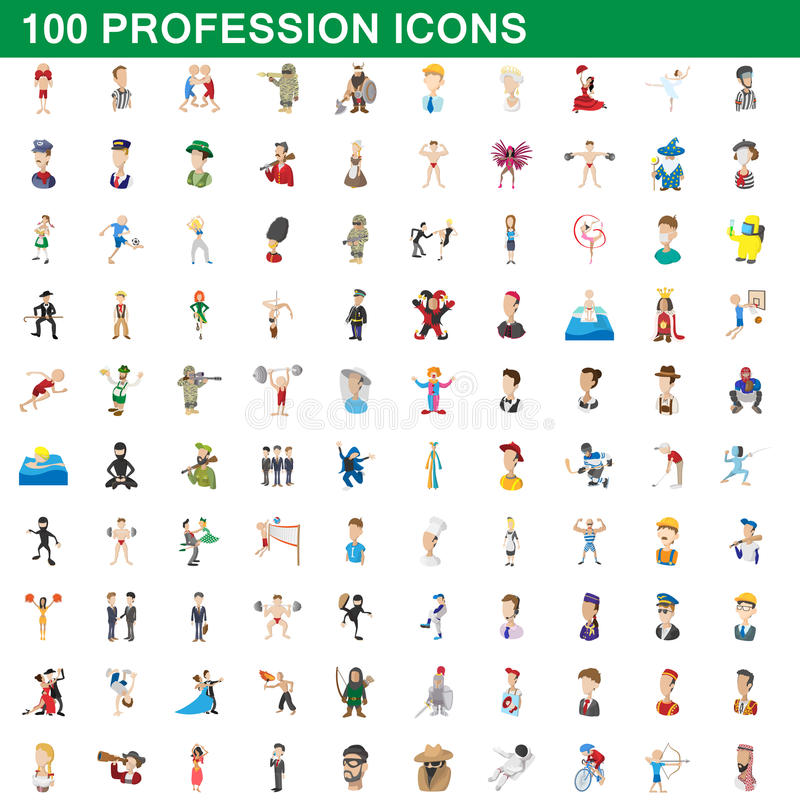 100 iconos fijados, estilo de la profesión de la historieta stock de ilustración