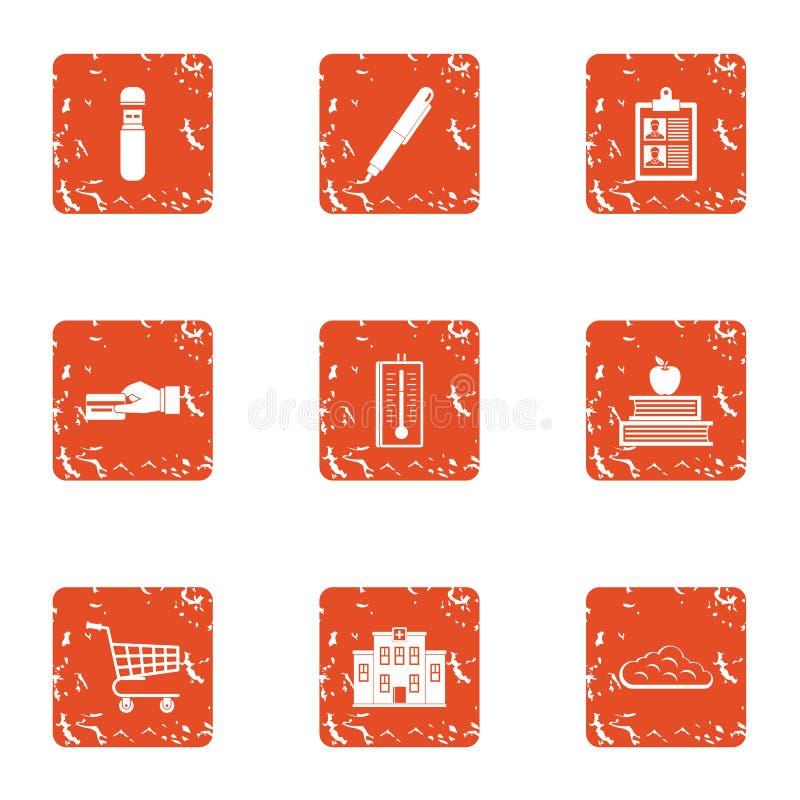 Iconos fijados, estilo de la remuneración del grunge ilustración del vector