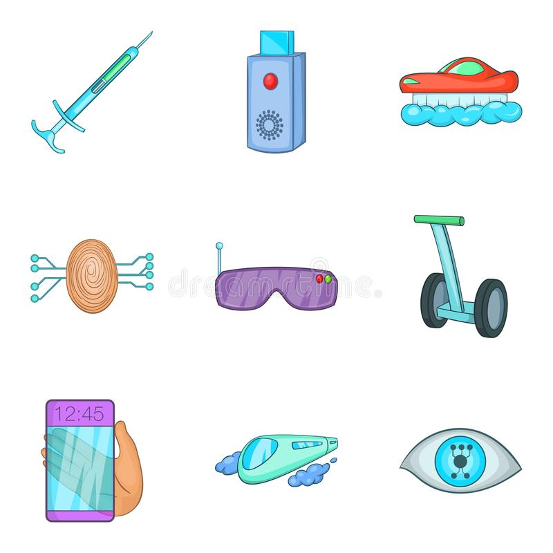 Iconos fijados, estilo de la tecnología del borde de la historieta ilustración del vector