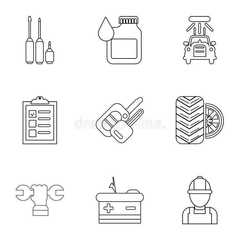 Iconos fijados, estilo de la tienda de Autorepair del esquema ilustración del vector
