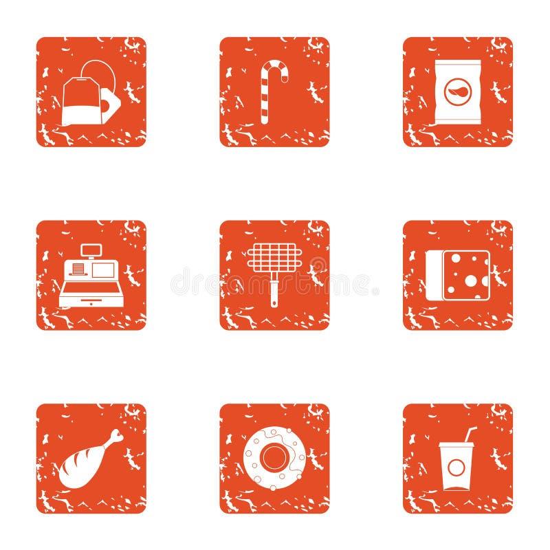 Iconos fijados, estilo de la tienda del Bbq del grunge ilustración del vector