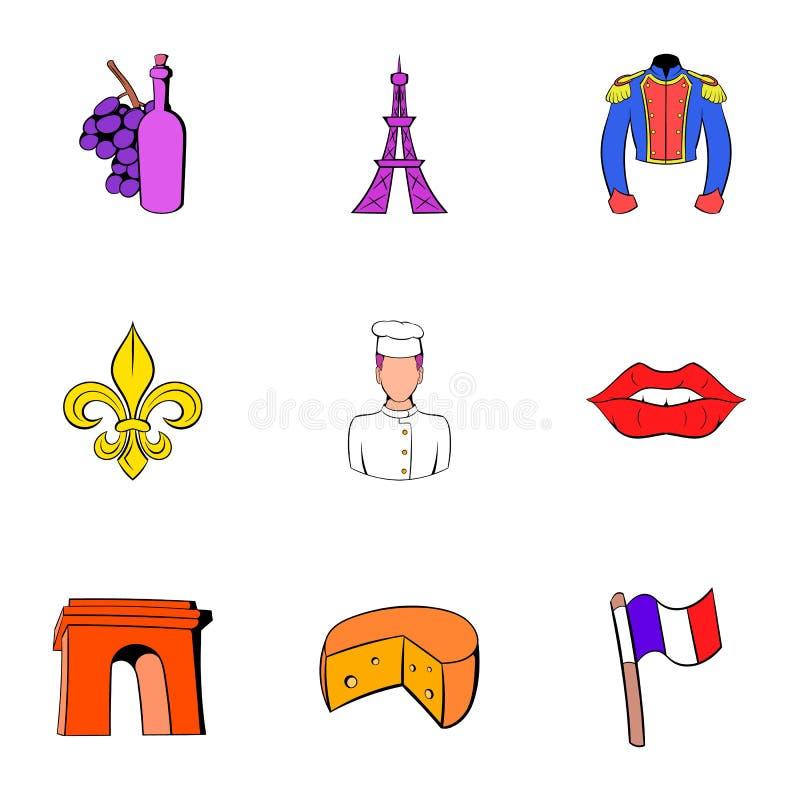 Iconos fijados, estilo de la torre Eiffel de la historieta ilustración del vector