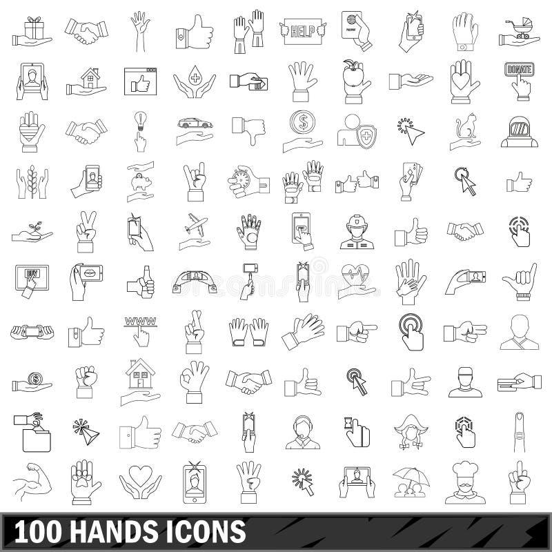 100 iconos fijados, estilo de las manos del esquema stock de ilustración