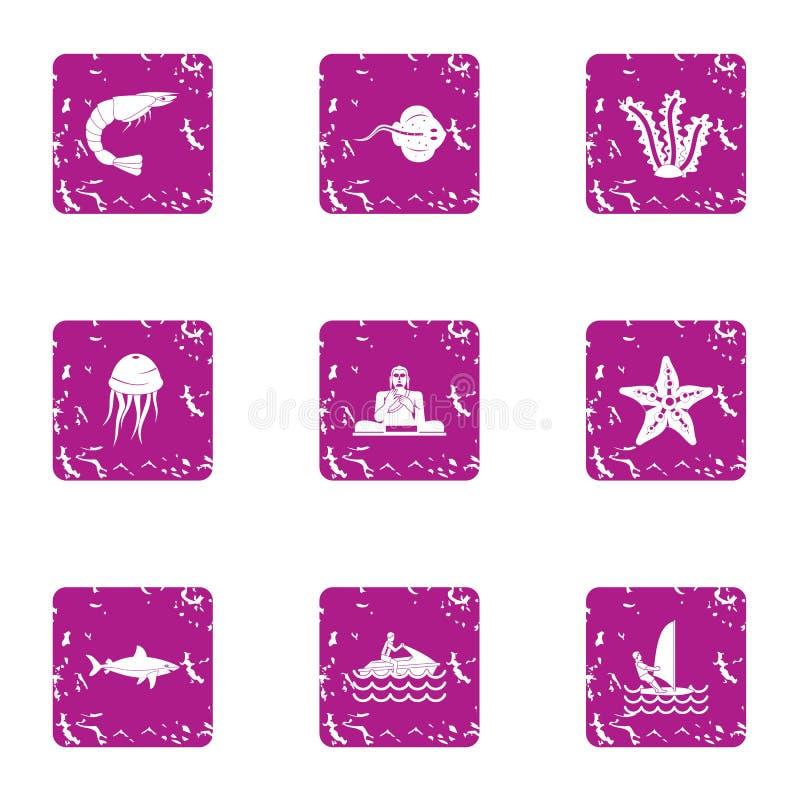Iconos fijados, estilo de las medusas del grunge stock de ilustración