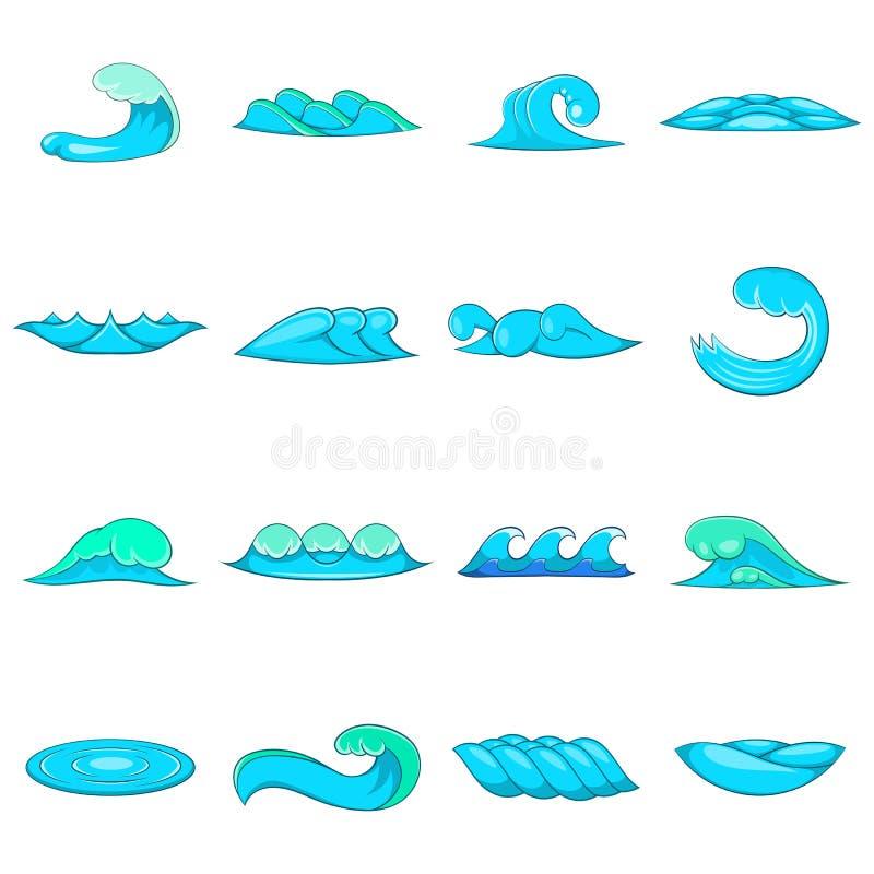 Iconos fijados, estilo de las ondas de la historieta stock de ilustración