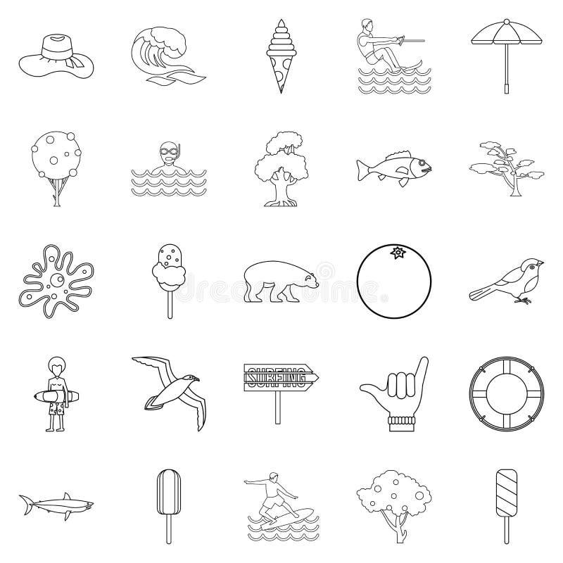 Iconos fijados, estilo de las vacaciones de verano del esquema ilustración del vector