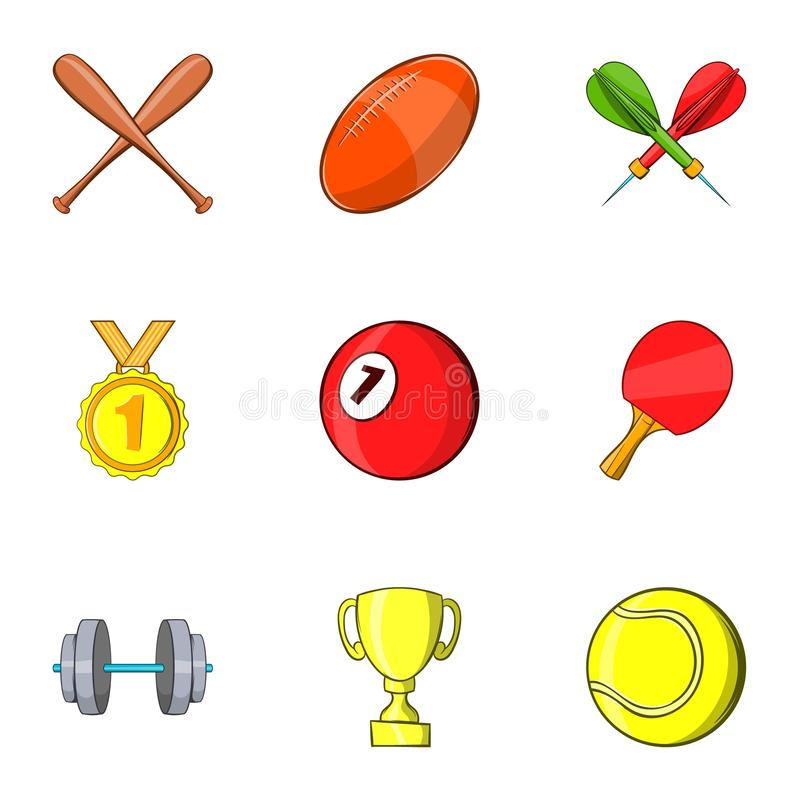 Iconos fijados, estilo de los accesorios de los deportes de la historieta stock de ilustración