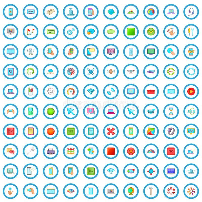 100 iconos fijados, estilo de los ajustes de la historieta stock de ilustración