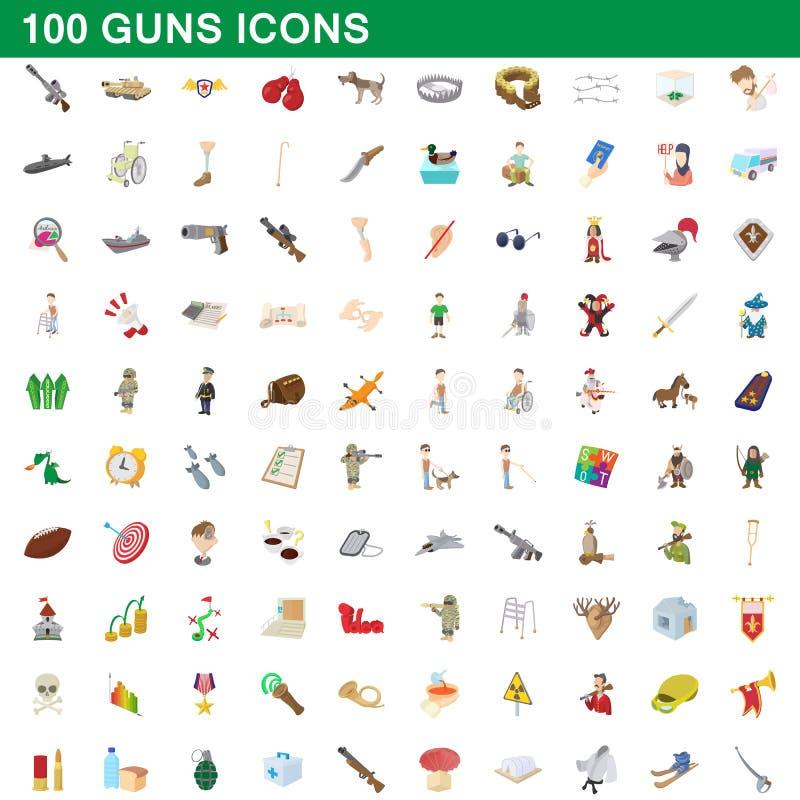 100 iconos fijados, estilo de los armas de la historieta ilustración del vector