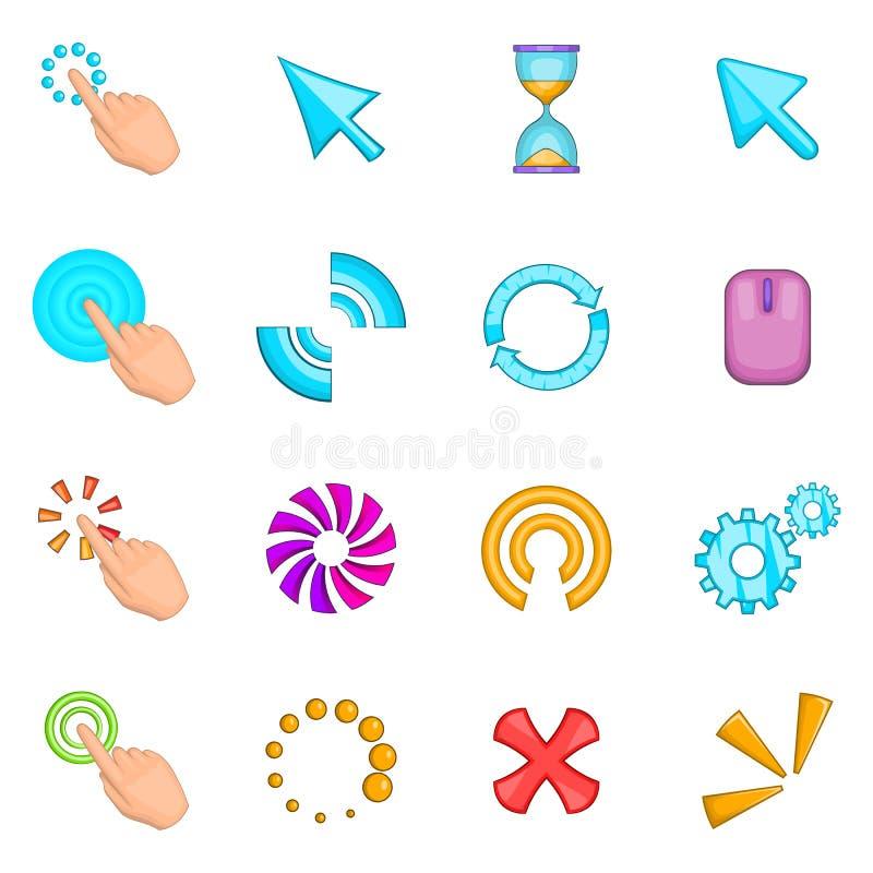 Iconos fijados, estilo de los cursores del tecleo de la historieta ilustración del vector