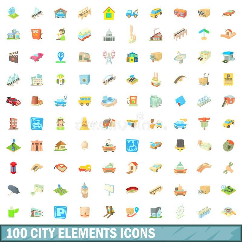 100 iconos fijados, estilo de los elementos de la ciudad de la historieta stock de ilustración